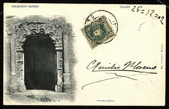 Fachada del Palacio de los Señores de Peromoro en su primitivo emplazamiento en la Calle del Instituto. Foto Laurent hacia 1902. Archivo municipal.