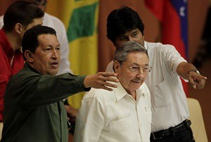 Latin American revolutionary leaders Hugo Chavez of Venezuela, Raul Castro of Cuba and Evo Morales of Bolivia. Castro says that the character of US imperialism has not changed under Obama. by Pan-African News Wire File Photos