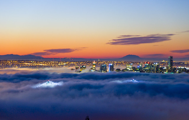 Vancouver sunrise in fog