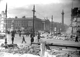 Abbey Street and Sackville Street (O'Connell Street) shelled, rubble remains