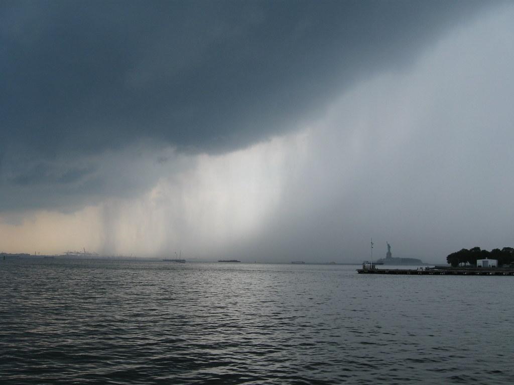 NY Harbor rainstorm