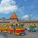 Ukraine, Lviv, Immobilized tram outside the old citywall