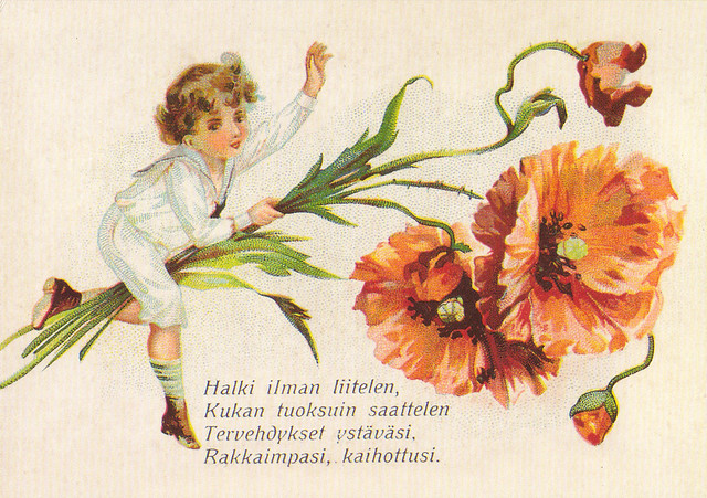 Finnish Vintage Greetings Postcard