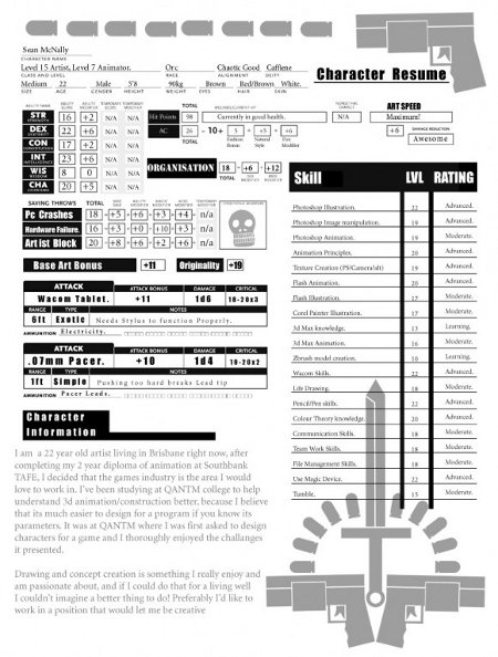 d u0026d character sheet as resume