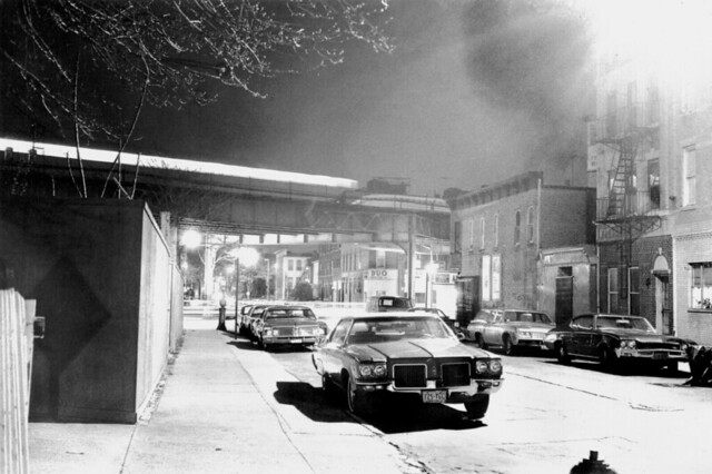 Brooklyn Street at Night El Train & Cars 1975