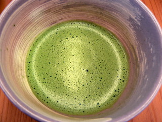 matcha whisked with hot water - yum!
