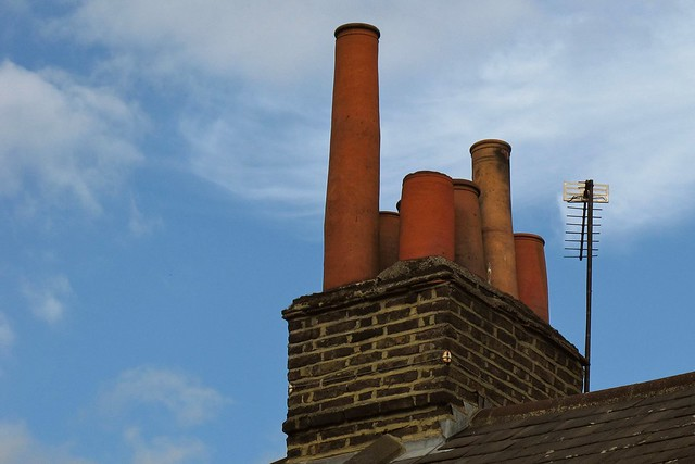 Chimney pots and TV aerial