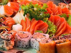 hors d'oeuvre, meal, sashimi, california roll, fish, sushi, garnish, food, dish, cuisine, asian food, smoked salmon,