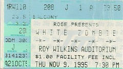11/09/95 White Zombie/The Toadies/Supersuckers @ Minneapolis, MN (Ticket)
