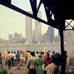Bicentennial Tall Ships during Opsail (Operation Sail) from the abandoned Central Railroad of NJ in Jersey City. World Trade Center hovers over the scene. July 4 1976