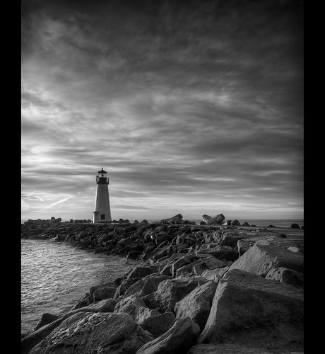 ocean sf california sea bw santacruz lighthouse water clouds contrast sunrise blackwhite nikon rocks sigma hdr d700