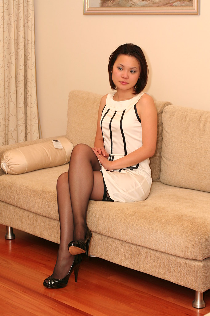 Asian wife in stockings