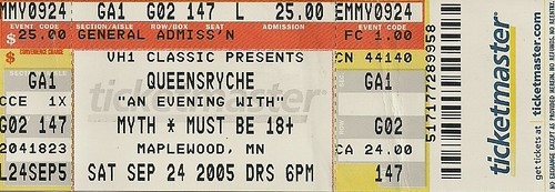09/24/05 Queensryche @ Maplewood, MN (Ticket)