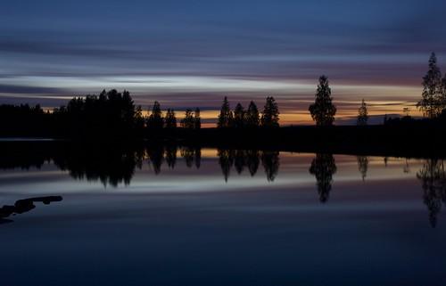 sunset lake nature water colors night forest finland tönöla