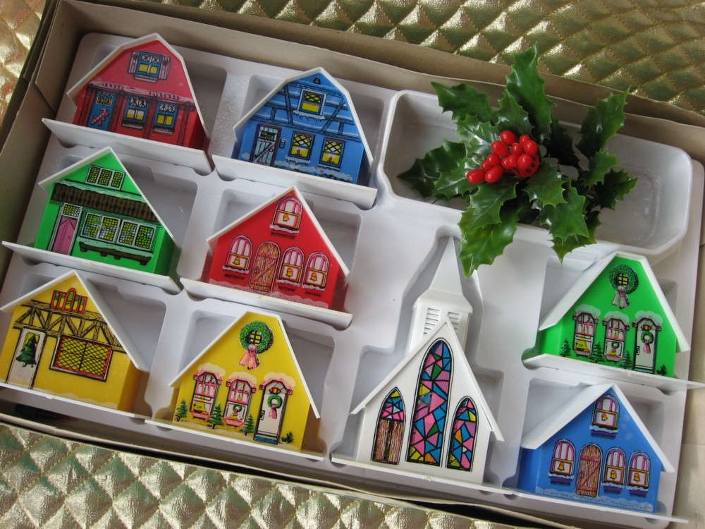 Alpine Christmas Village Houses Church In Box A Photo On
