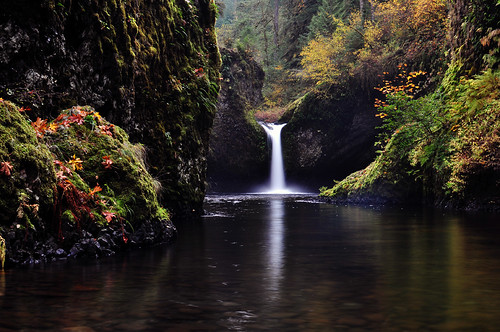autumn oregon fallcolors autumncolors waterfalls pacificnorthwest eaglecreek fav10 punchbowlfalls longexposurewater