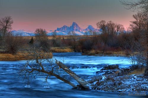 sunset usa ice water landscape idaho fallriver potofgold tetonmountainrange reedmiller colorphotoaward rhmiller luxtop100