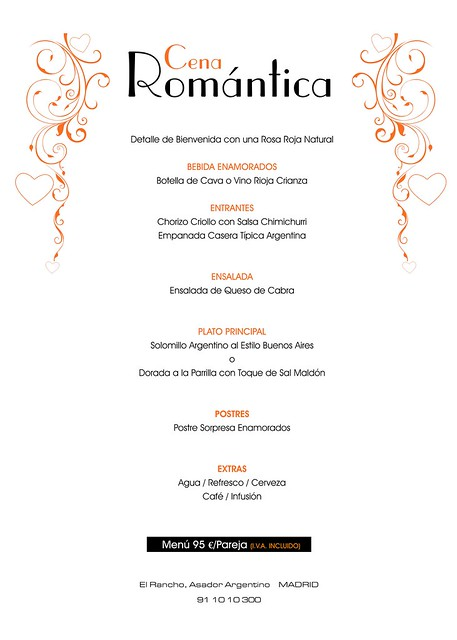 Menu cena romantica flickr photo sharing for Menu cenas