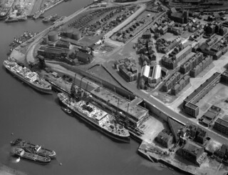 Aerial view of the Corporation Quay, 1950