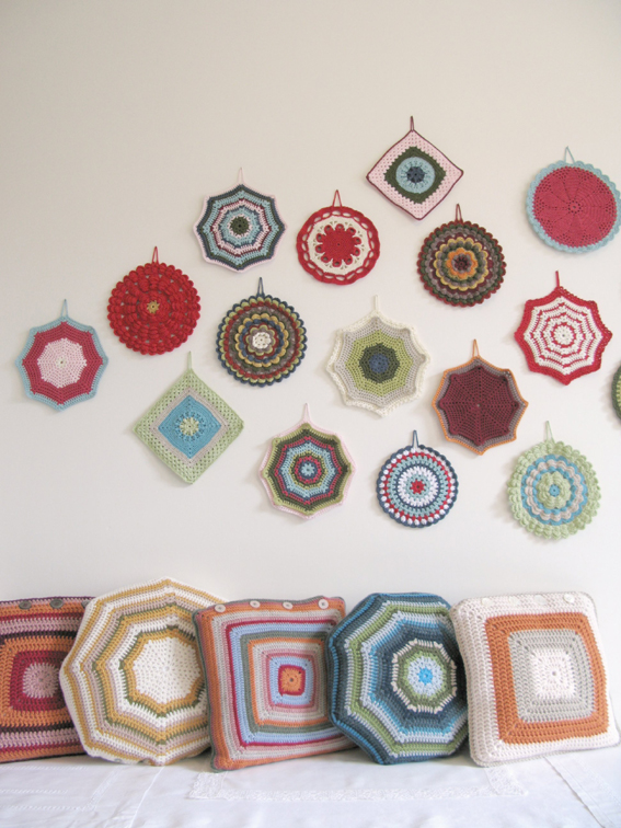 crochet potholder wall art and granny cushions by © emma lamb