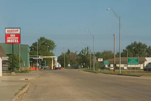 road sign downtown border streetscene northdakota portal bordercrossing