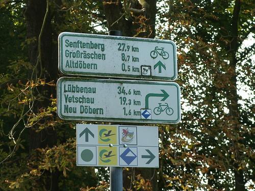 Wegweiser, Senftenberg, Großräschen, Altdöbern, Lübbenau, Vetschau, Neu Döbern