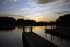 Sunset over boat landing at Bennett's Creek Park