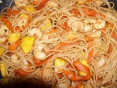 caridean shrimp(0.0), spaghetti alle vongole(0.0), cellophane noodles(0.0), linguine(0.0), produce(0.0), pad thai(0.0), noodle(1.0), shrimp(1.0), mie goreng(1.0), fried noodles(1.0), lo mein(1.0), pancit(1.0), thai food(1.0), spaghetti(1.0), seafood(1.0), clam sauce(1.0), spaghetti aglio e olio(1.0), food(1.0), scampi(1.0), dish(1.0), chinese noodles(1.0), vermicelli(1.0), cuisine(1.0), chow mein(1.0),