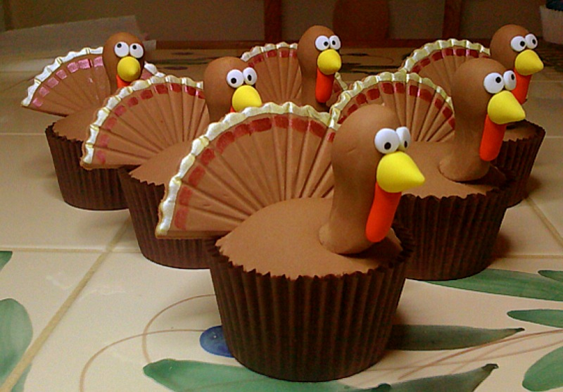 Cute Cake Ideas For Thanksgiving : Thanksgiving turkey cupcakes