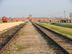 The entrance to Auschwitz