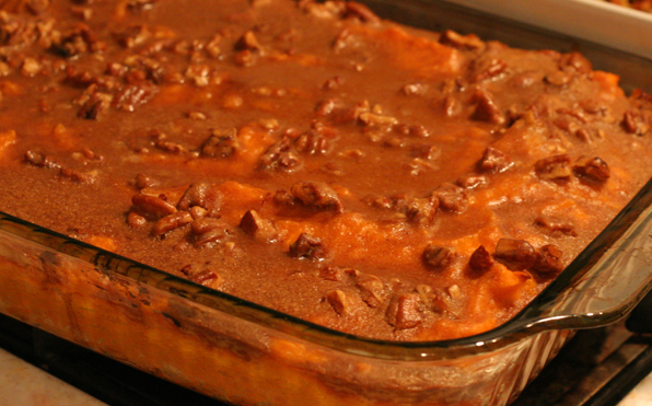 Pithy and cleaver sweet potato pur e with pecan streusel for What is sweet potato puree