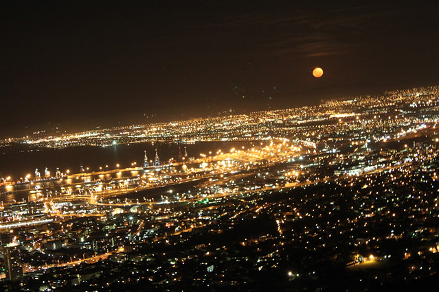 Moon rising over Cape Town, South Africa