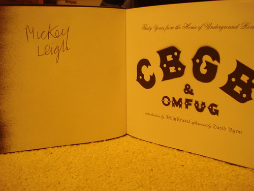 """12-18-09 Mickey Leigh Autographed copy of """"CBGB: Thirty Years from the Home of Underground Rock"""""""