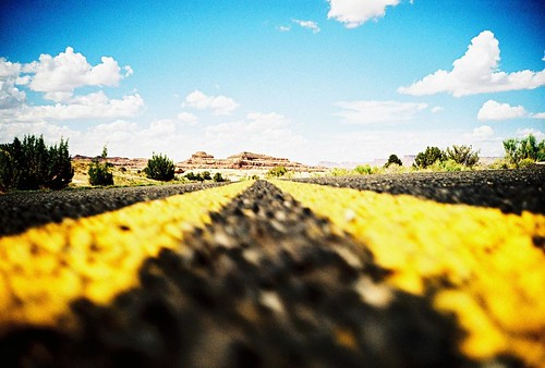 Follow the yellow lined road...