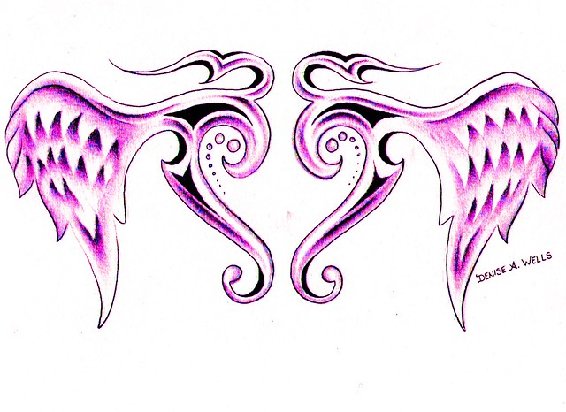 Tribal Winged Heart Tattoo by Denise A. Wells