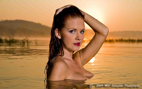 Sunrise on the lake with a model