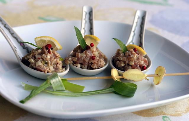 thunfisch-häppchen mit wasabi & ingwer