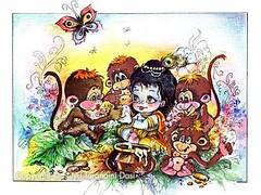 Krishna and monkeys - ISKCON desire tree