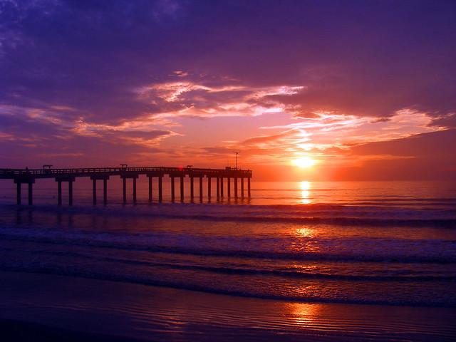 St augustine beach fishing pier sunrise at st for St augustine fishing pier