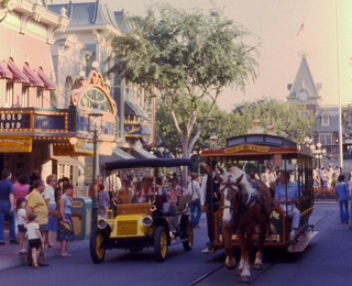 It's a race!  Main Street, U.S.A., Disneyland, 1979