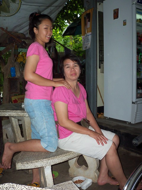 Mom takes daughter for massage
