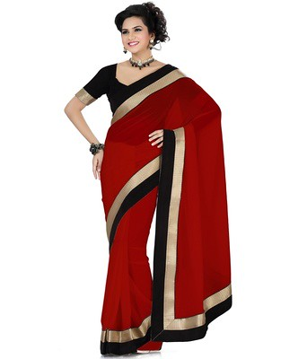 Designer Wear Saree Georgette Fabric Party Wedding Wear Saree: Nfs1284 Sarees on Shimply.com