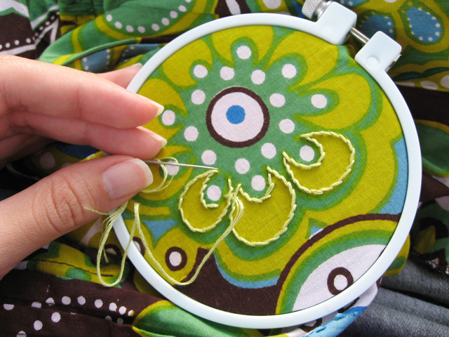embroidering my skirt