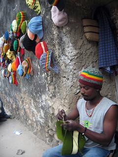 Knitting hats in Stonetown, Zanzibar