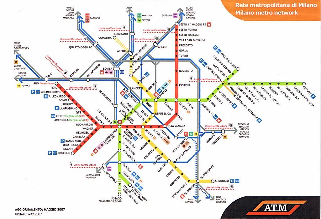 Milan Metro Map Postcard 2007 Kotarana Flickr