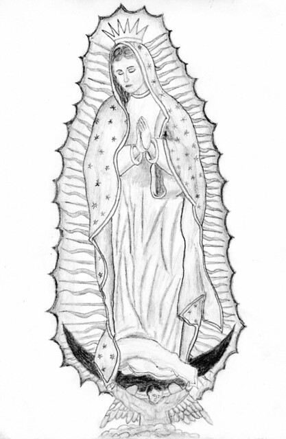 how to draw our lady of guadalupe step by step