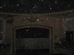 Abandoned theater during a snowstorm