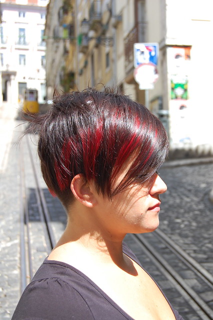 stylish short hair with red highlights
