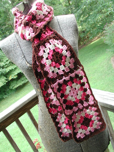 Bucksters Pink Granny Square Scarf Flickr - Photo Sharing!