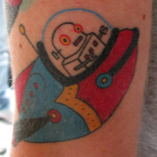 Cute Robots Tattoos Robot in a Spaceship Tattoo
